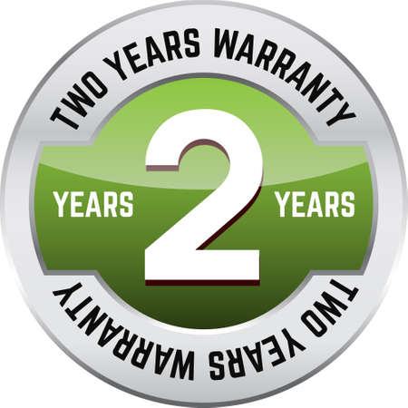 TWO YEARS WARRANTY shiny button. Bright metal shiny circular button with words Two year warranty on it.
