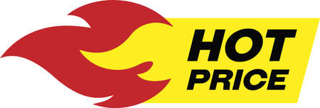 Hot price red and yellow banner. Yellow sticker sign with red fire to it, with words Hot price written on it.