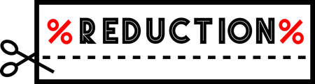 REDUCTION promo sign. Coupon style banner with scissors and cut line, saying Reduction with discount percentage signs. 向量圖像