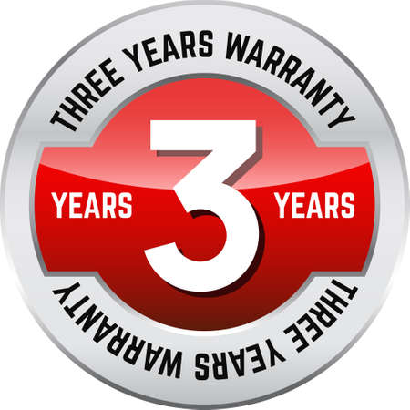 THREE YEARS WARRANTY shiny button. Bright metal shiny circular button with words THREE year warranty on it.
