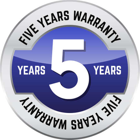 FIVE YEARS WARRANTY shiny button. Bright metal shiny circular button with words Five year warranty on it.