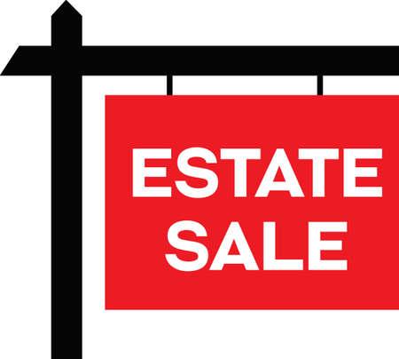 Estate Sale sign, showing wooden like sign hanging with words Estate Sale. 向量圖像