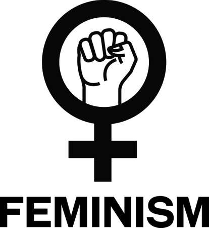 Feminism sign wigh clenched fist, feminine circle symbol and word Feminism next to it. 向量圖像