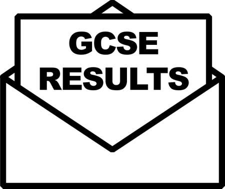 gcse relults black sign with paper envelope and paper showing out of it with words gcse results.