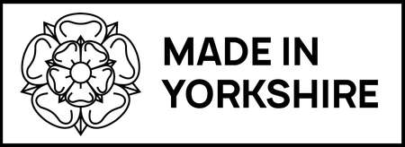 made in yorkshire sign. Rectangular stamp with Yorkshire white rose of york and words Made in Yorkshire next to it.