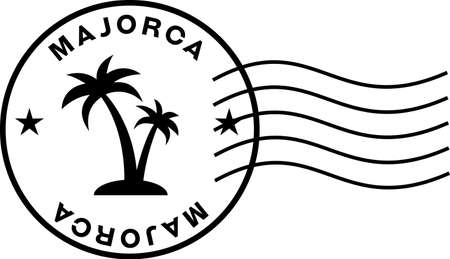 majorka stamp sign with postage markings. Circular stamp with palm trees inside, words Majorca and wavy postage marks. 向量圖像