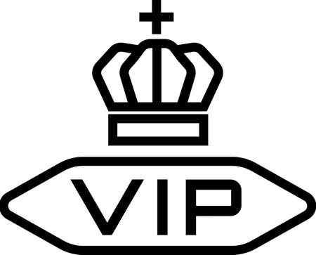 VIP, very important person sign. Acronym VIP in frame and royal crown on top of it.