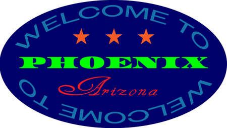 Welcome to phoenix arizona colour badge. Blue badge with yellow and red words Welcome to Phoenix Arizona.