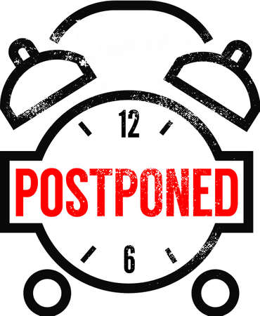 Postponed clock sign. Black clock with alarm and word Postponed on it. Rubber stamp style.