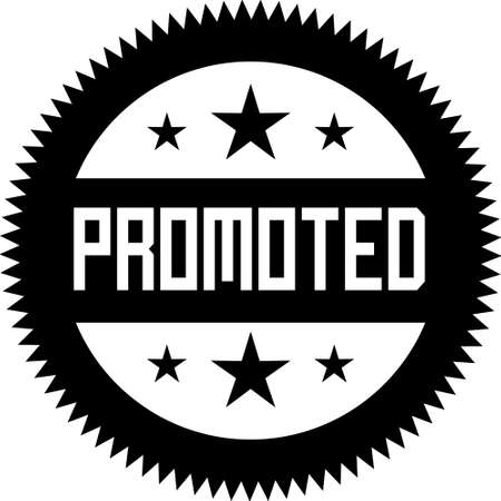 Promoted black medal with stars. Medal line black sign with stars and word Promoted.