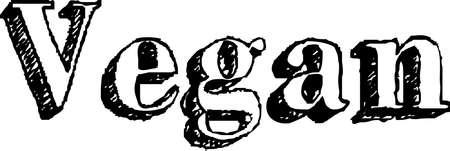 Vegan simple hand written style lettering. Word Vegan written with chalk like letters, black on white.