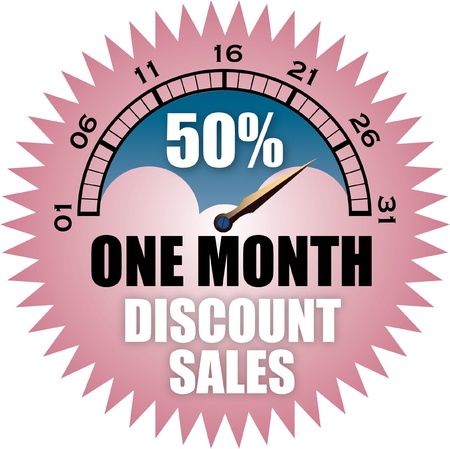 below: One Month 50 Percent Discount Sales