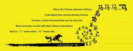 gained: Evolution of the Chinese Character - Horse  Illustration