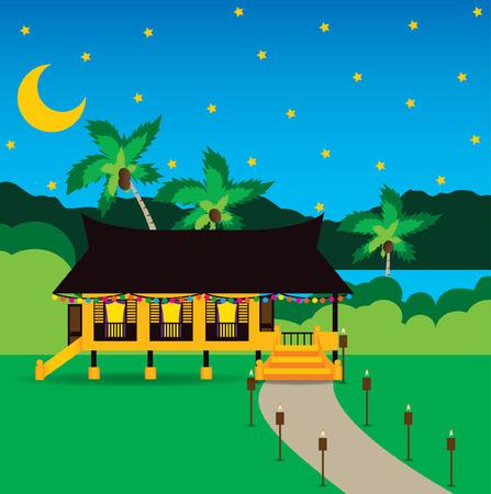 malay village: Hari Raya celebraci�n Aidilfitri en Village Vectores