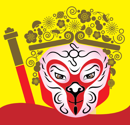 chinese opera: Monkey King - Chinese Opera Illustration