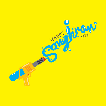 sanskrit: Happy Songkran Illustration