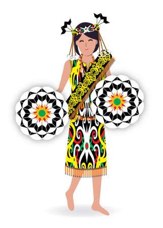 Datun Julud is a traditional dance performed by orang Ulu's female with the Kirep's decoration in Sarawak. Zdjęcie Seryjne
