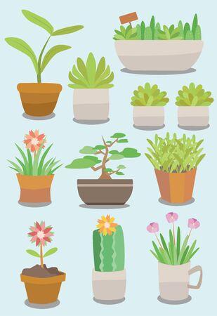 Ten different potted plants Illusztráció