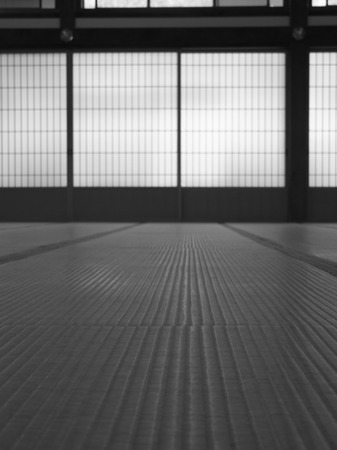Low angle shot of a Japanese room in black and white, focusing on the tatami mats.  photo