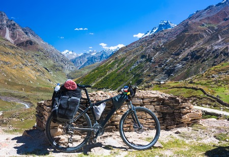 bicycling: bicycling trip stuff in autumn. Himalayas, India Stock Photo
