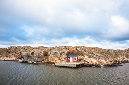 gothenburg: Houses on island in Gothenburg, Sweden. Cloudy weather Stock Photo