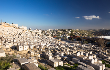 promised: Ancient cemetery in Jerusalem at sunny evening. Israel Editorial