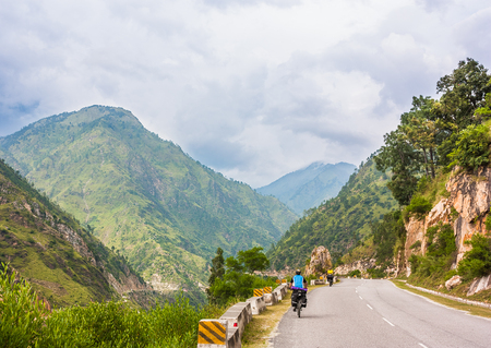 bicycling: Picture taken during bicycling trip in autumn. Himalayas, India Stock Photo
