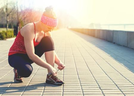 outdoor sport: Sport fitness woman doing outdoor cross training workout