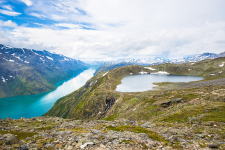 Landscapes of Besseggen. Beautiful blue lake and good weather in Norway Stock Photo