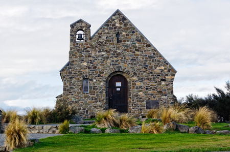 The rustic blue-stone Church of the Good Shepherd at Lake Tekapo on the South Island of New Zealand