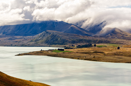 View of Lake Tekapo from Mount John - South Island, New Zealand Stock Photo