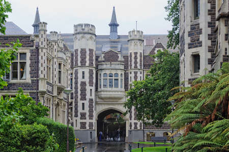 gothic revival: The Archway of the University of Otago in Dunedin on the South Island of New Zealand Stock Photo