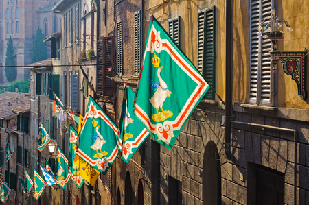 Contrada dellOca flags with a crowned goose wearing a blue ribbon around its neck decorate the houses at the time of the Palio