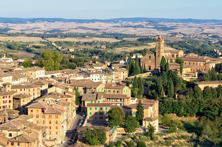View of Santa Maria dei Servi and surrounding residential area from the Viewing Platform of the Duomo, Faccianote - Siena, Italy