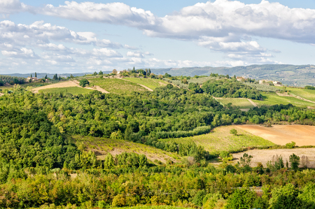 Tuscan countryside as seen from the walls of Monteriggioni, Italy