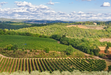 Tuscan autumn landscape as seen from the walls of Monteriggioni, Italy Stock Photo