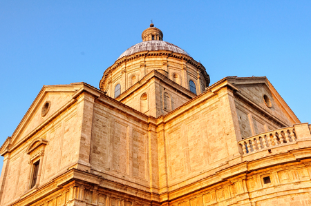 The sunlit dome of the church of San Biagio outside Montepulciano in Tuscany, Italy