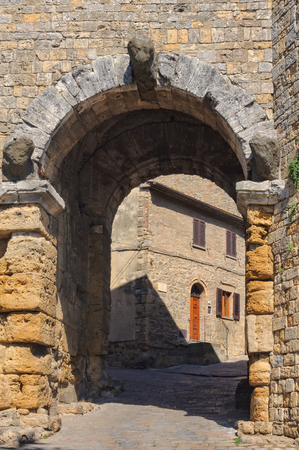 Porta all Arco, one of city`s gateways, is the most famous Etruscan architectural monument in Volterra, Italy Stock Photo