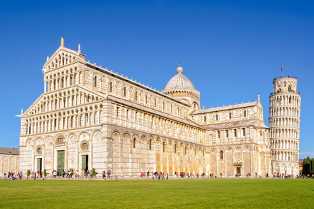 Pisa Cathedral (Duomo) and the Leaning Tower (Torre Pendente) on the Field of Miracles (Campo dei Miracoli) in Pisa, Tuscany, Italy - 8 October 2011 Editorial