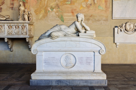 camposanto: The allegorical figure of Science on the sarcophagus of the late astronomer and physicist Ottaviano-Fabrizio Mossoti in the Camposanto - Pisa, Tuscany, Italy Editorial