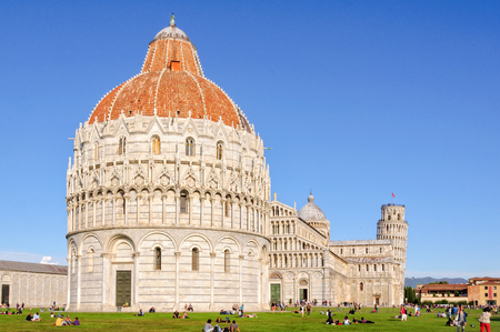 Baptistery (battistero), Pisa Cathedral (duomo) and the Leaning Tower (Torre Pendente) on the Square of Miracles (Campo dei Miracoli) in Pisa, Tuscany, Italy - 8 October 2011