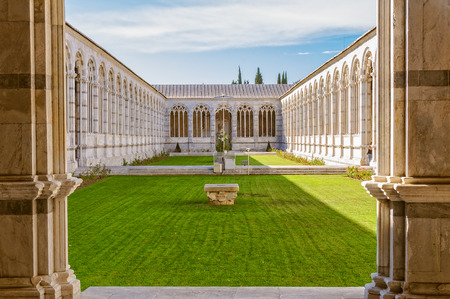 The courtyard of the Holy Field (Camposanto) on the Field of Miracles (Campo dei Miracoli) in Pisa, Tuscany, Italy Editorial