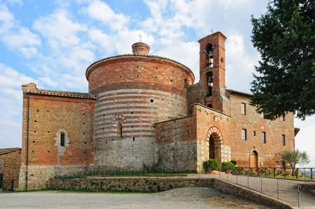 apparently: Beehive-shaped Round or  Hermitage of Montesiepi famous for a sword apparently embedded in a rock - San Galgano, Tuscany, Italy