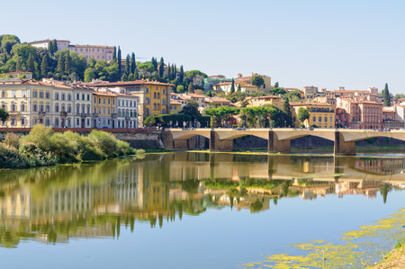 The bridge Ponte alle Grazie over the Arno river and a stretch of the south bank - Florence, Tuscany, Italy Stock Photo