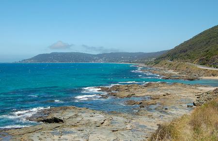 Rocky coastline near Lorne on the Great Ocean Road in Victoria, Australia