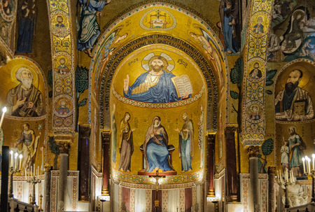 Medieval Byzantine style mosaic of Christ Pantocrator above the altar of the Palatine Chapel (Cappella Palatina) - Palermo, Sicily, Italy, 20 October 2011