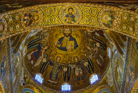 Christ Pantocrator in the byzantine dome of the Royal Chapel (Cappella Palatina) of the Norman kings of Kingdom of Sicily - Palermo, Sicily, Italy, 20 October 2011 Editorial