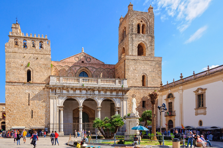 The Metropolitan Cathedral of Monreal dedicated to the Nativity of the Virgin Mary is one of the best examples of Norman architecture - Sicily, Italy, 21 October 2011