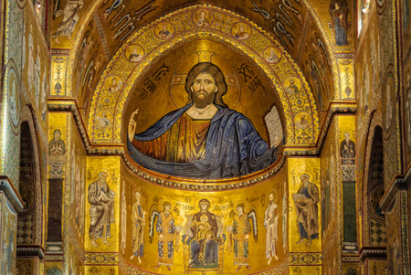 Mosaic images of Christ the Pantocrator and the Virgin Mary above the main altar of the Metropolitan Cathedral - Monreale, Sicily, Italy, 21 October 2011