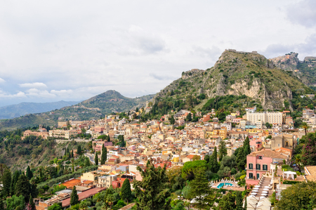Old town photographed from Teatro Greco - Taormina, Sicily, Italy Stock Photo - 80138854